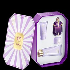 Alien Diva Gift Set - She will possess an air of divinity upon revealing the magic and mystery of this set.  Included in this ALIEN ensemble are a 30 ml / 1 fl. oz. Eau de Parfum Refillable Spray, a 100 ml / 3.5 oz. net wt. Radiant Body Lotion, a 30 ml / 1 fl. oz. Radiant Shower Gel, and a 15 ml / .5 oz. net wt. Radiant Body Cream.  Watch her goddess-like femininity come to life!  Value: $119