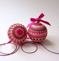 Christmas Tree Decorations, 2 Crocheted Baubles in Pink Shades, Green, Ornaments Decorations, 6cm Diameter on Etsy, £6.00