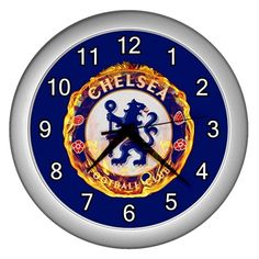 "Chelsea FC The Blues [10"" Wall Clock Silver/Black Frame]"