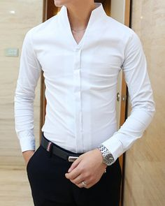 Simple Style Stand Collar Slimming Solid Color Long Sleeves Polyester Shirt For Men