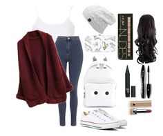 """School day"" by katiemichellegilbert on Polyvore featuring Topshop, Converse, Anya Hindmarch, Marc Jacobs and Lancôme"