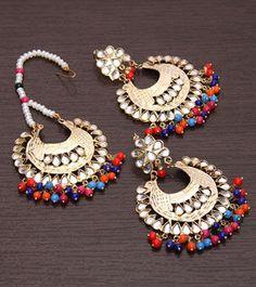 Golden & Multicoloured Embellished Earrings With Maang Tikka