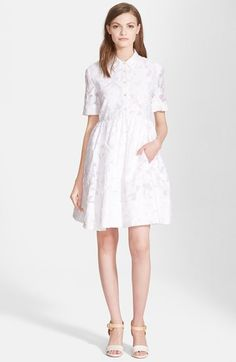 """Free shipping and returns on kate spade new york 'tobin' shirtdress at Nordstrom.com. <p><B STYLE=""""COLOR:#990000"""">Pre-order this style today! Add to Shopping Bag to view approximate ship date. You'll be charged only when your item ships.</b></p><br>Soft fringed edges lend striking visual texture to a charming short-sleeve shirtdress finished with a full pleated skirt."""