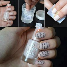 Find images and videos about nails, tutorial and decoracion de uñas on We Heart It - the app to get lost in what you love. Love Nails, How To Do Nails, Pretty Nails, Style Nails, Gorgeous Nails, Nail Manicure, Diy Nails, Nail Polish, Newspaper Nails
