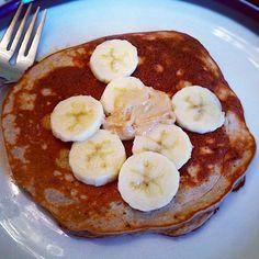 1/4 cup egg whites, 1 scoop vanilla protein powder (Warrior Blend), 1/2 mashed banana, splash of unsweetened vanilla almond milk, 1 tsp. chia seeds and a dash of cinnamon.