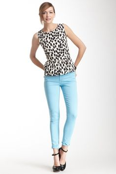 Light blue pants and a spotted peplum top - cute idea