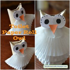 Owl made out of an empty toilet paper roll and muffin cups