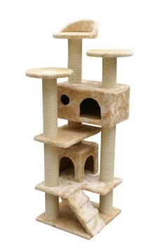 "Amazon.com: 52"" New Cat Tree Condo Furniture Scratcher Beige: Pet Supplies"