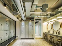Architecture and design news from CLAD - WG+P Architects creates bespoke London gym for Core Collective Gym Lockers, Changing Room, Gym Design, At Home Gym, Hotel Spa, Craftsman, Locker Storage, Architecture Design, Design Inspiration