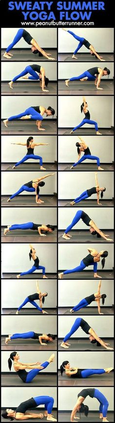 Easy Yoga Workout - A sweaty summer yoga flow to strengthen and stretch. Down Dog, Right Side Three Point, Cheetah, Three Point, Twisted Cheetah, Three Point,…#yoga Get your sexiest body ever without,crunches,cardio,or ever setting foot in a gym