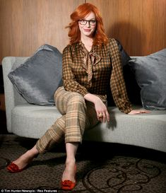 Retro style: Christina Hendricks in a vintage-style outfit as she posed for a new shoot in Sydney, Australia