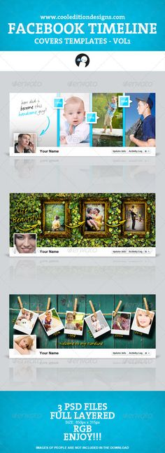 These are 3 beautiful covers for your Facebook timeline. Now you can make your facebook unique, be the envy of your friends!!!    The package includes 3 great Facebook Timeline Cover templates.