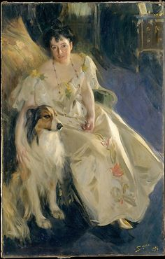 Anders Zorn (Swedish, 1860–1920). Mrs. Walter Rathbone Bacon (Virginia Purdy, died 1919), 1897. The Metropolitan Museum of Art, New York. Gift of Mrs. Walter Rathbone Bacon, in memory of her husband, 1917 (17.204) #dogs