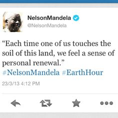 We are so honored that Nelson Mandela has shared this message in support of #EarthHour 2013. How are you celebrating today? Together we can find the energy to turn the inspiration of one hour into the actions of every hour.