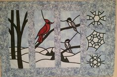 Winter quilted stained glass wall hanging