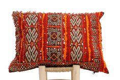 Kilim Pillow Moroccan Berber cushion lumbar, vintage cover (CV37) #Moroccan
