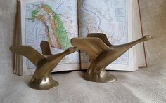 Mid Century Brass Geese Pair of Vintage Brass Geese Modernist Brass Waterfowl Home Decor Shelf or Desk Decor by RandomAmazing on Etsy