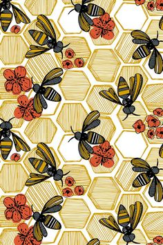 Honey Bee Hexagon by tiffanyheiger - Hand drawn honey bees on fabric, wallpaper, and gift wrap. Geometric honey pods in vintage tones with orange flowers. wallpaper Colorful fabrics digitally printed by Spoonflower - Honey Bee Hexagon Large Phone Backgrounds, Wallpaper Backgrounds, Trendy Wallpaper, Geometric Wallpaper, Colorful Wallpaper, Geometric Prints, Geometric Drawing, Geometric Flower, Textures Patterns