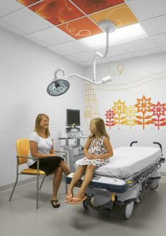 Many of the wall graphics are accompanied by narrative text to engage different age groups. Photo: Alise O'Brien Photography Hospital Architecture, Healthcare Architecture, Healthcare Design, Clinic Interior Design, Clinic Design, Care Hospital, Hospital Room, Childrens Hospital, Kids Hospital