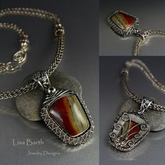 Here is my latest,combining metal clay with wire work. I bezel set the stone a while back, when I was just learning to set stones so it was not a very good design and it had been thrown in the bottom of the ugly bin. I thought I'd save it from such a fate and try something different with it so I wove a bezel around it. I also made the necklace, a four sided Viking knit and chain. It looks completely different now.
