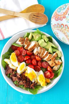 Healthy Dinner Recipes 288371182371864968 - Healthy Cobb Salad Recipe (Paleo, Dairy Free, Gluten Free) @ Healy Eats Real Source by coconutparadis Dairy Free Recipes, Paleo Recipes, Real Food Recipes, Cooking Recipes, Gluten Free, Paleo Meals, Dairy Free Salads, Paleo Food, Veggie Food