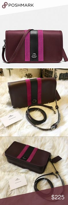 """🍾LTD ED COACH, 75th ANN Penny Crossbody Bag 🍾LTD ED COACH, 75th ANN Penny Crossbody Bag in Leather & Suede • Extremely Rare Bag re-created for the Ann. Collection, first introduced in 1973 as the """"Dinky"""" ⭐ Gorgeous soft leather in Oxblood (eggplant) w. Fuchsia Suede stripes • Pewter Metal accents 
