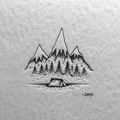 Illustration, mountain, tent, logo in Illustration