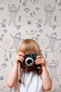 papeles pintados para niños 1 Línea de Papel pintado infantil de Muffin