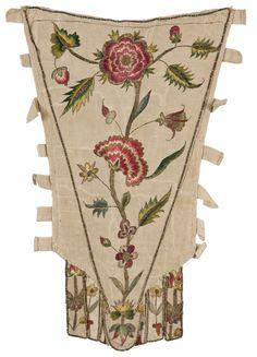 Pièce d'estomac, France, vers 1720-1770  Faille, broderie de soie et filé or au passé empiétant