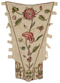 Stomacher, France, c. 1720-1770. Silk faille, embroidered with a single flower branch in coloured silk.