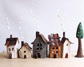 Miniature felt houses with tree, Home decor. Textil art.