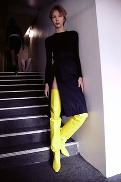 Yellow thigh high boots backstage at Vêtements SS15 PFW. More images here: http://www.dazeddigital.com/fashion/article/21923/1/vetements-ss15