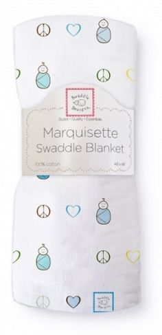 SwaddleDesigns Marquisette Swaddling Blanket, Premium Cotton Muslin, True Blue Peace and Love Swaddle Blanket, Peace And Love, Baby Blue, Lost, Bullet Journal