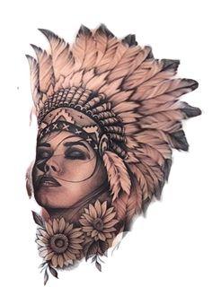 Tattoos For Kids, Girl Tattoos, Art Drawings Sketches, Tattoo Drawings, Tattoo Indio, Headdress Tattoo, Native Tattoos, Jesus Tattoo, Grey Art
