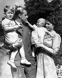 A touching moment: Elizabeth and her husband Prince Philip with their two children Prince Charles and Princess Anne. Prince Andrew, Prince Charles, Queen Elizabeth Ii Husband, Princess Elizabeth, George Vi, Commonwealth, Prinz Phillip, Sophie Rhys Jones, Prince Héritier
