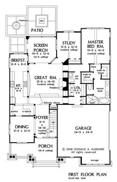 First Floor Plan of The Kirkwood - House Plan Number 1249