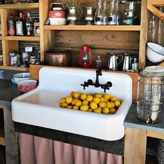 Deep Cast Iron High Back Utility Sink Cora 42 Inch Cast Iron Farmhouse Drainboard Sink – 8 Inch Faucet Drillings Rustic Kitchen, Country Kitchen, New Kitchen, Vintage Kitchen, Kitchen Sinks, Kitchen Ideas, Kitchen Redo, Basement Kitchen, Kitchen Store