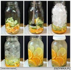 pomarańcze, limonki, cytryny. Na słoik 5 litrowy: - 5 pomarańczy - 2 limonki - 1 cytrynę pokroić w pólplastry ułożyć na spodzie do 3/4 wysokości, uzupełnić kostkami lodu i zalać gazowaną wodą mineralną smakową pomarańczową, zakręcić i co jakiś czas wstrząsać przez jakieś 30 min by sok z cytrusów się uwolnił