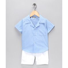 ON #SALE this weekend   Petit Confection -Blue Stripe Button-Up Shirt & Shorts    Was:$44.00  50%OFF  NOW:$22.99  #baby #kids #sale #deals #bargains  #dresses #girls #boys #outfits