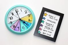 Time management is one of the best skills you can teach your child. Use a color-coded clock and a legend to help your family stay focused after school. This hack helps your child see for himself how much time is left to complete a task (especially homewor After School Routine, School Routines, Back To School Hacks, Back To School Shopping, Chores For Kids, Activities For Kids, Kids Schedule, Schedule Board, Child Behavior