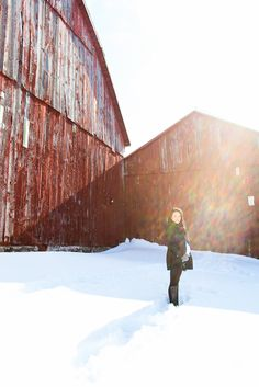 Outdoor Winter Maternity Session Photographs, Red Barn, Carpe Diem Apple Orchard  © Liisa Sefton Images - Barrie Photographer