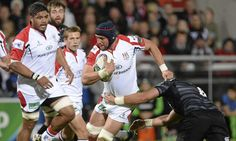 Ulster's Dan Touhy, centre, is tackled by Leicester's Jordan Crane as the hosts pile on the pressure at Ravenhill. Photograph: Oliver McVeig...