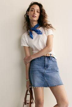 madewell denim frisco mini skirt worn with whisper cotton crewneck, bandana + leather crisscross skinny belt.