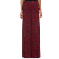 Erdem Women's Birte Floral Wide-Leg Pants (49,815 THB) ❤ liked on Polyvore featuring pants, burgundy, creased pants, floral trousers, floral wide leg trousers, wide-leg pants and zipper trousers