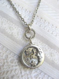 Silver Moon Necklace  Steampunk Moon Star Necklace   by birdzNbeez, $28.00    Awesome necklace!