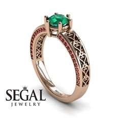 Unique Edwardian Engagement ring White Gold Vintage Ring Edwardian Ring Green Emerald With Ruby - Caroline - man coupon Elegant Engagement Rings, Rose Gold Engagement Ring, Designer Engagement Rings, Solitaire Engagement, Engagement Gifts, Edwardian Ring, 1920s Ring, Edwardian Style, Victorian Ring