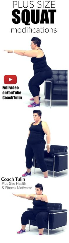 Learn how I modify squats as a plus size woman. When I started at over 350 lbs, … Learn how I modify squats as a plus size woman. When I started at over 350 lbs, I could not squat. I share tips and mindset on how to squat when my belly got in the way . Sport Fitness, Fitness Diet, Health Fitness, Fitness Workouts, Fitness Websites, Fitness Shirts, Fitness Women, Squat Workout, Belly Fat Workout