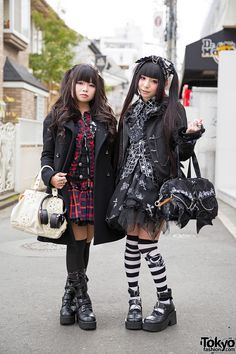 Harajuku Girls in Twin Tails & Gothic Fashion Pictured to the right is Morino Ringo, 18 and is both a student and a model. Eluza is pictured to the left, & she's 17 years old. #vanitytours