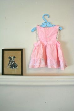 vintage baby pinafore  THREE KITTENS pink sundress / 12M by MsTips, $14.00