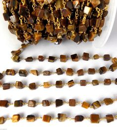 5 Feet AAA Tiger Eye Smooth Uneven Square Rosary Beaded Chain 24k Gold Plated…